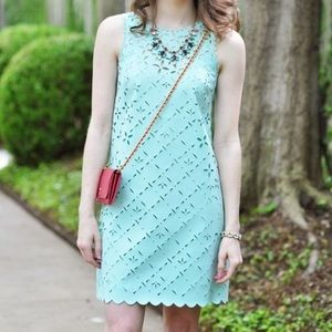 J Crew laser cut out floral shift dress